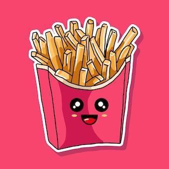 Desenho de desenho animado de batatas fritas fofas