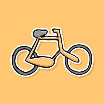 Desenho de desenho animado de bicicleta desenhado à mão