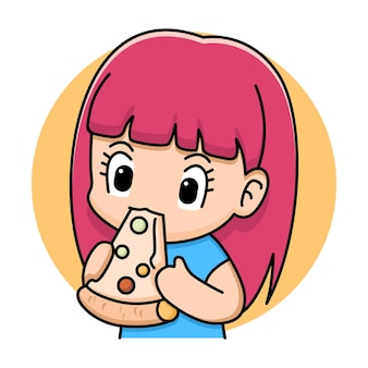 Desenho de desenho animado de garota fofa comendo pizza