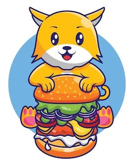 Desenho de desenho animado de gato fofo comendo hambúrguer