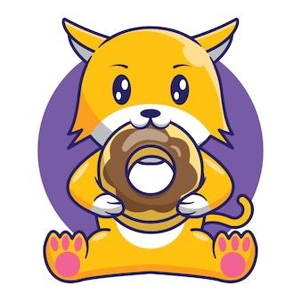 Desenho de desenho animado de gato fofo comendo rosquinhas de chocolate
