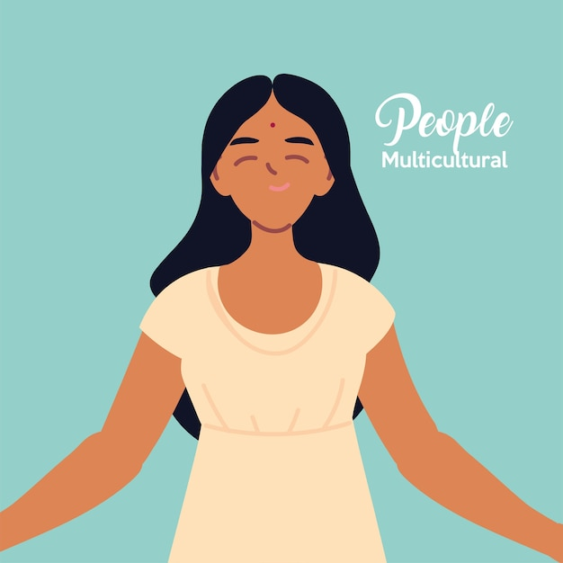 Desenho de desenho animado de mulher indiana