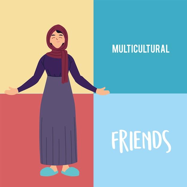 Desenho de desenho animado de mulher muçulmana