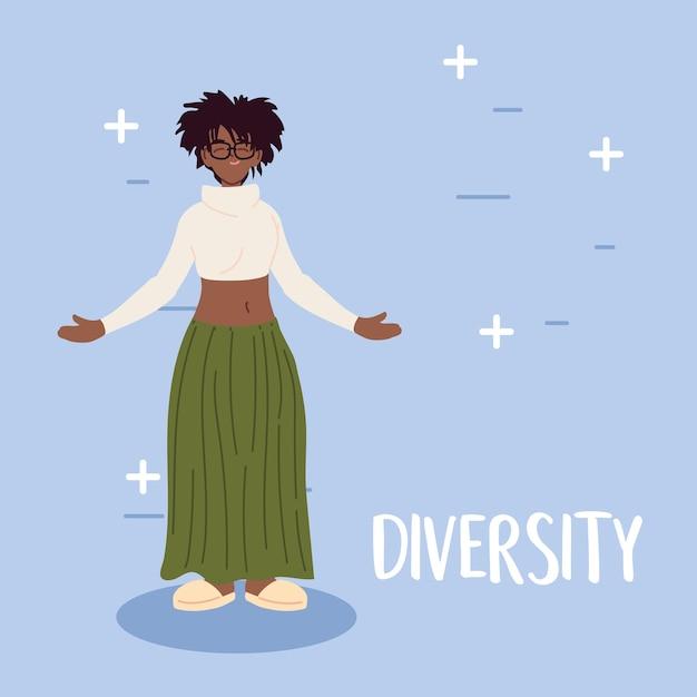 Desenho de desenho animado de mulher negra