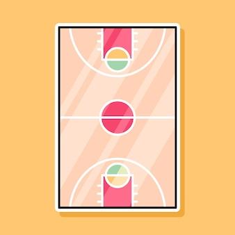 Desenho de desenho animado de quadra de basquete