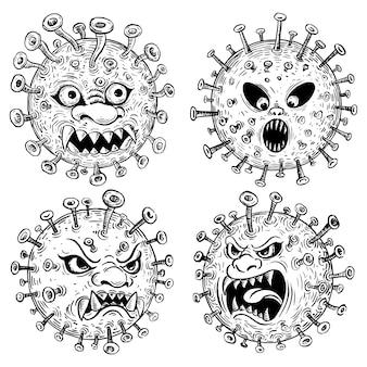 Desenho de desenho animado de vírus corona, ilustração de mão desenhada
