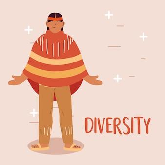Desenho de desenho animado do homem indiano dos eua