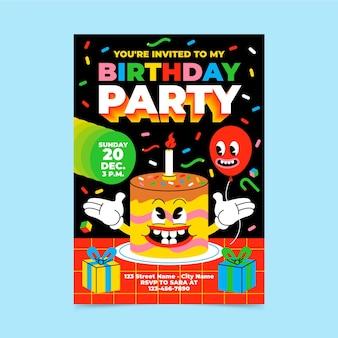 Desenho de desenho animado liso moderno convite de aniversário
