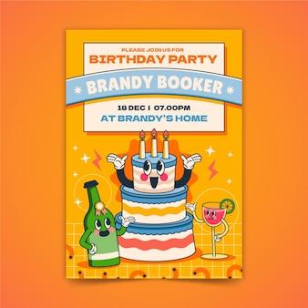 Desenho de desenho animado moderno convite de aniversário