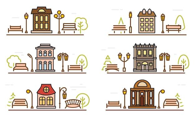 Desenho de desenho animado para colorir fachada e parques adjacentes delinear parque de modelo de paisagem urbana de vetor estilizado