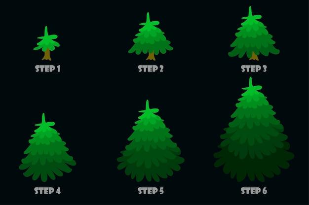 Desenho de desenho de árvore verdecrescimento de árvore de vetor passo a passo