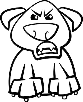 Desenho de desenhos animados de cachorro furioso