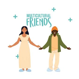 Desenho de desenhos animados de mulheres indianas e negros