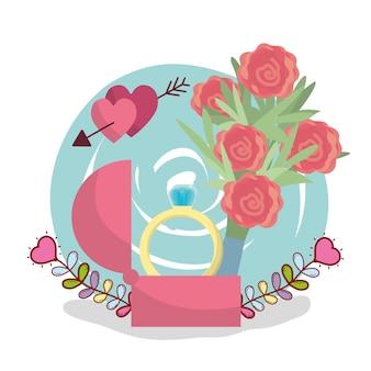 Desenho de design de cartão de casamento