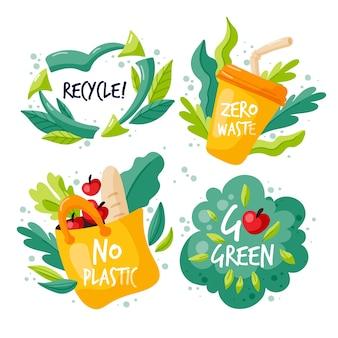 Desenho de design de emblemas de ecologia