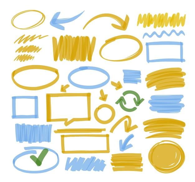 Desenho de destaque e linhas de marcador.