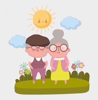 Desenho de dia dos avós feliz