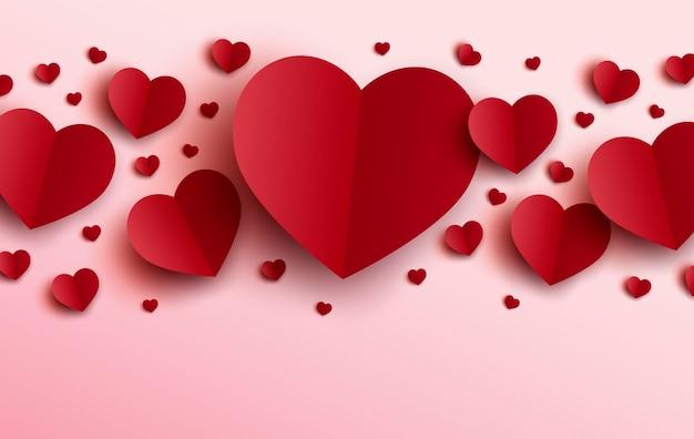 Desenho de dia dos namorados de corações vermelhos em fundo rosa
