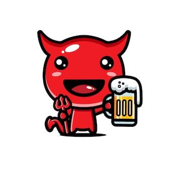 Desenho de diabo fofo bebendo cerveja