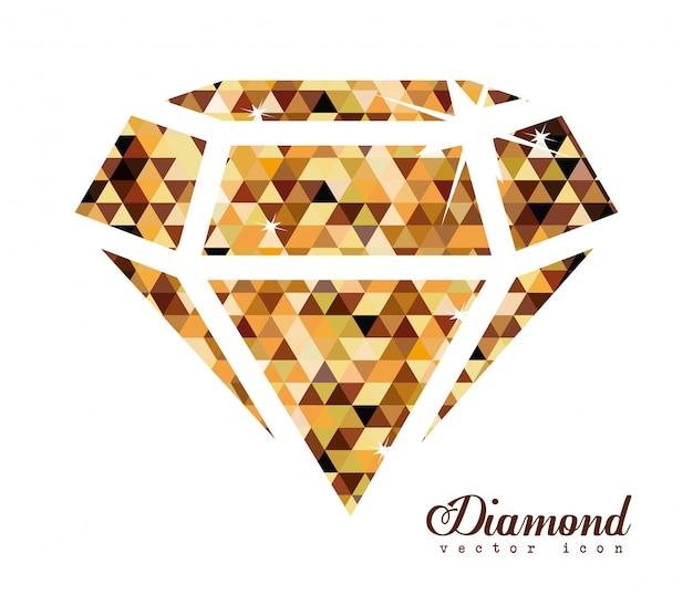 Desenho de diamante, ilustração vetorial.