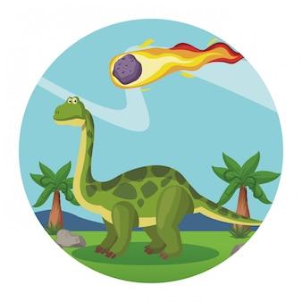 Desenho de dinossauro brontossauro Vetor Premium