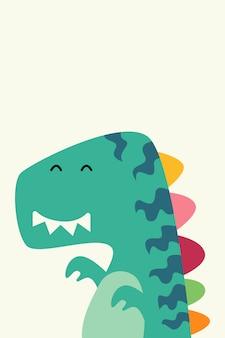 Desenho de dinossauro fofo para ilustração de cartaz de crianças. personagem de dinossauro plana