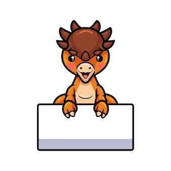 Desenho de dinossauro paquicefalossauro fofo com um sinal em branco