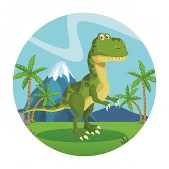 Desenho de dinossauro tiranossauro Vetor Premium