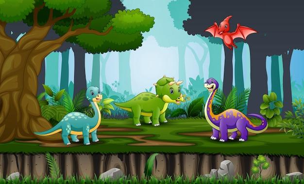Desenho de dinossauros felizes na selva