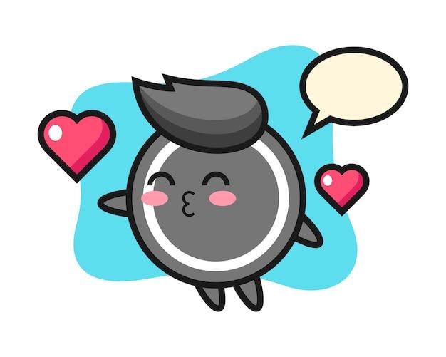 Desenho de disco de hóquei com gesto de beijo