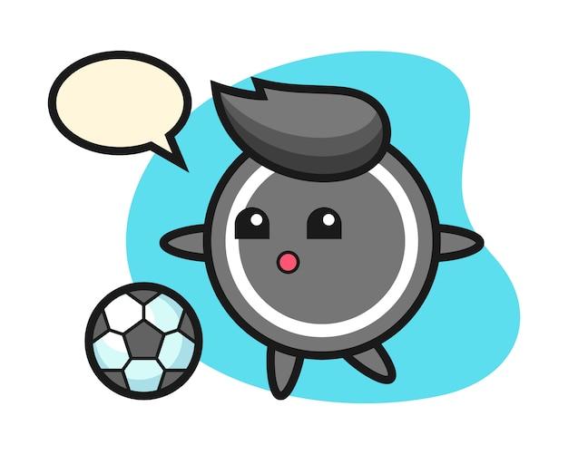 Desenho de disco de hóquei está jogando futebol