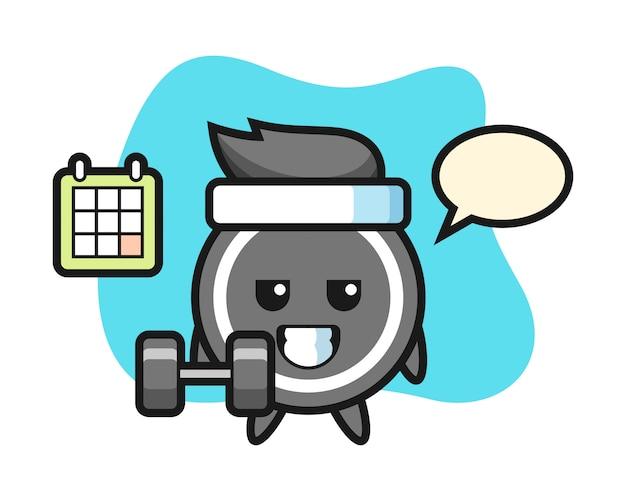 Desenho de disco de hóquei fazendo fitness com haltere