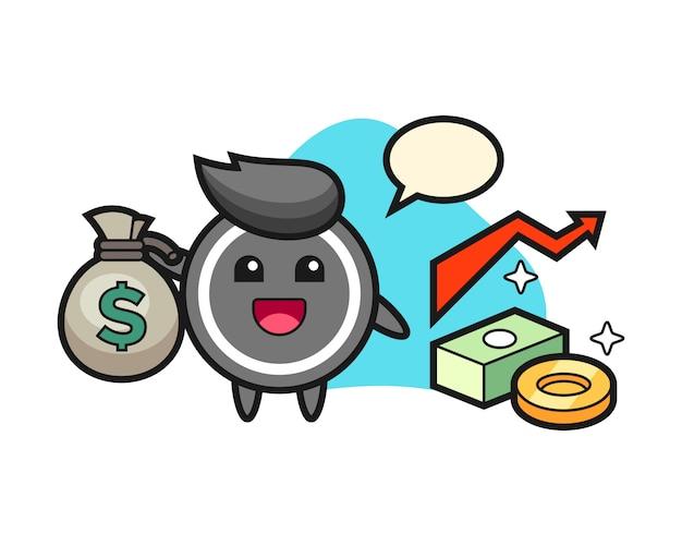 Desenho de disco de hóquei, segurando o saco de dinheiro