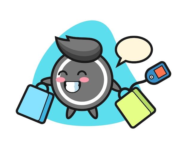 Desenho de disco de hóquei, segurando uma sacola de compras