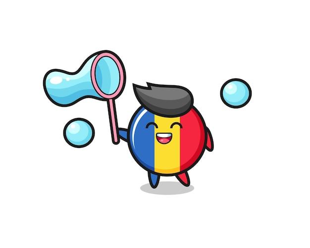 Desenho de distintivo de bandeira da romênia feliz jogando bolha de sabão, design de estilo fofo para camiseta, adesivo, elemento de logotipo