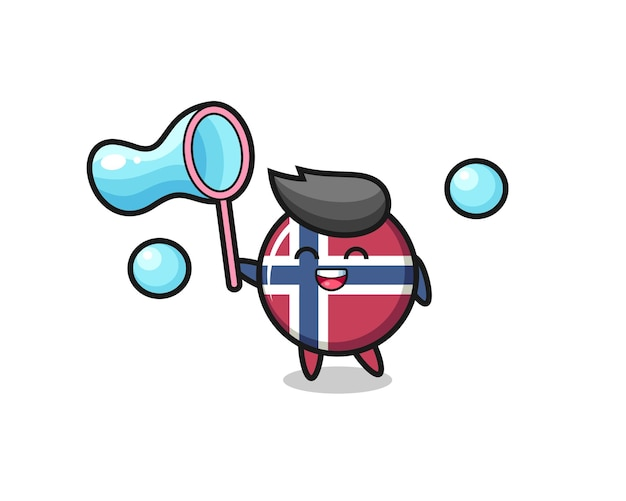 Desenho de distintivo de bandeira de noruega feliz jogando bolha de sabão, design de estilo fofo para camiseta, adesivo, elemento de logotipo