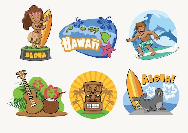 Desenho de distintivo dos desenhos animados de havaí em conjunto