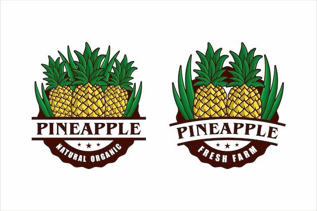 Desenho de distintivo fresco com moldura orgânica de abacaxi