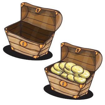 Desenho de dois baús com vetor de moedas isoladas