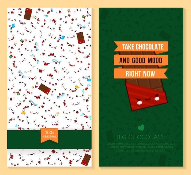 Desenho de dois bilhetes engraçados com padrão de emoção kawaii e chocolate doce grande