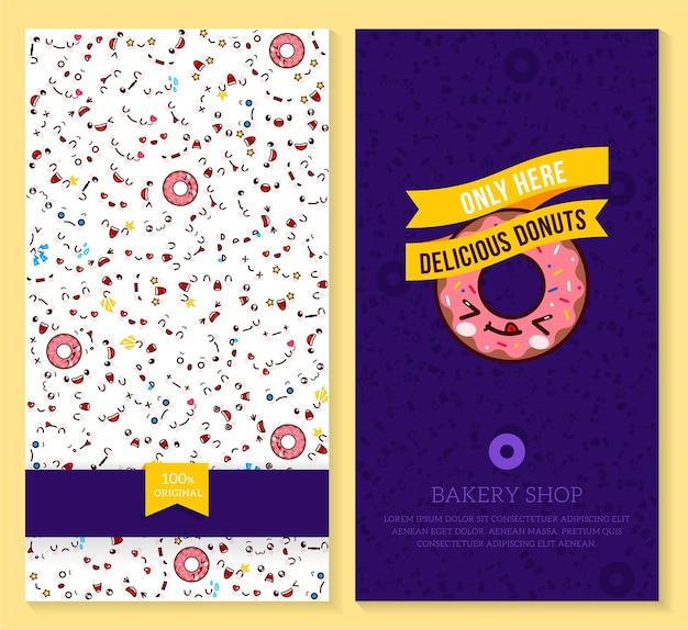 Desenho de dois bilhetes engraçados com padrão de emoção kawaii e rosquinha doce