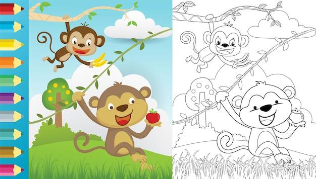 Desenho de dois macacos pendurados segurando frutas na natureza, livro para colorir ou página