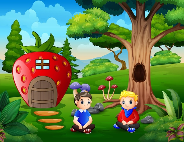 Desenho de dois meninos sentados em frente à casa de morango