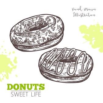 Desenho de donuts doces com creme