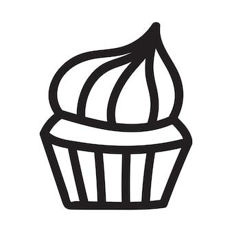 Desenho de doodle de cupcake. ícone adequado para logotipo, design de padrão. ilustração vetorial.
