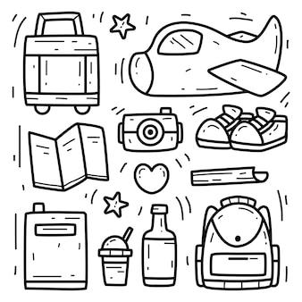 Desenho de doodle de desenho animado de viagem kawaii