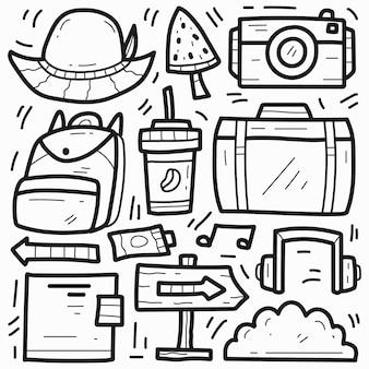 Desenho de doodle de desenho de viagem desenhado à mão