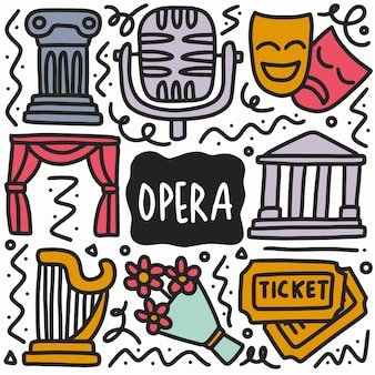 Desenho de doodle de ópera com ícones e elementos de design