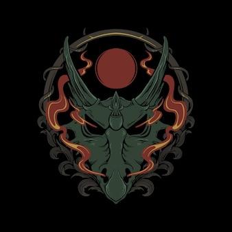 Desenho de dragão de mitologia de cabeça