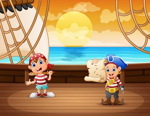 Desenho de duas crianças piratas em um navio